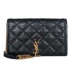 Saint Laurent Black Lambskin Leather Cross Body Bag